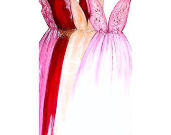 SALE On The Rack Original 24x36 Gouache Fashion Illustration