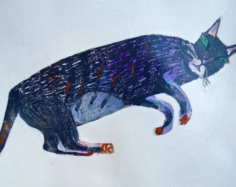 EMERY original painting 'advanced cat see's things' expressionism folk  outsider cat intuition