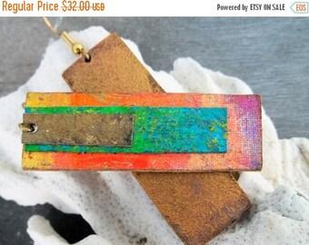 Sale: Neon Blue Orange Magenta Gold Leather Earrings