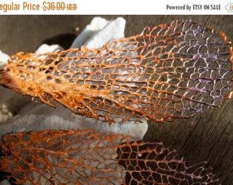 Sale: Orange Lavender Sea Fan Coral Earrings