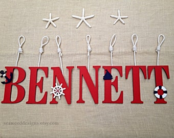 """9"""" Baby Name Letters with or without ropes in colors of Red, White or Navy / Nautical Baby Name Letters / Hanging Baby Name Letters"""