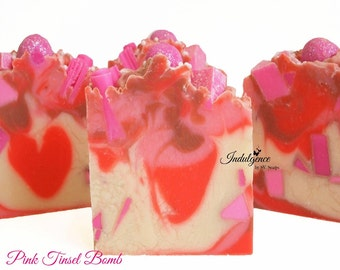 Soap-Pink Tinsel Bomb Artisan Vegan Soap/Handmade/Cold Process/Christmas