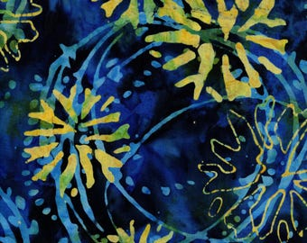 RJR Blossom Batiks 3143 4 Yellow Flowers With Dark Blue Backing By The Yard