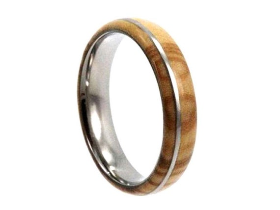 Olive Wood Ring, Titanium Wedding Band, Eco Friendly Jewelry Gift For Men or Women