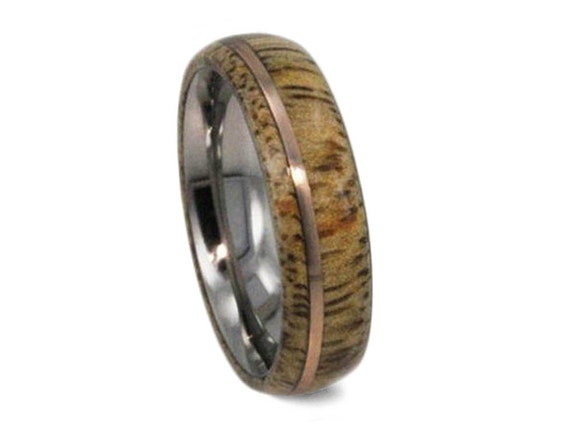 Wood Wedding Band For Men and Women, Titanium Ring With Mango Wood And A 14k Rose Gold Pinstripe