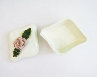 Small French Rose Box // White Ceramic Jewelry Box // Vintage Home Decor