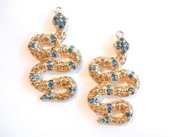 Pair of Curling Gold-tone Snake Charms Turquoise and Topaz Rhinestones