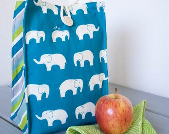 Insulated Organic Cotton Lunch Bag -- Blue Elephants -- PLASTIC FREE!
