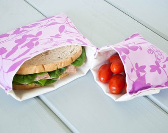 PLASTIC-FREE Orchid Purple Sandwich and Snack Bags, Reusable, Organic Cotton, Eco Friendly - Set of 2