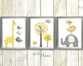 Yellow and gray nursery - Nursery decor Boy Girl - children wall art Kids art - elephant giraffe bird Tree - Set of three prints