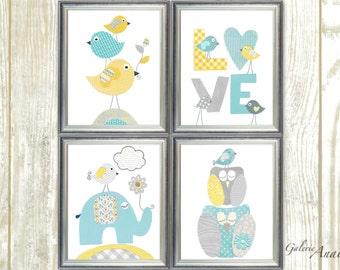 Aqua yellow blue and gray Nursery Art Print nursery art baby nursery kids art love Birds elephant nursery Owls nursery Set of 4 prints