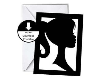 Fashion Doll Girl Silhouette Birthday Invitation or Thank You Card DIY Card Printable Blank Inside Instant Download