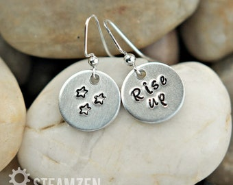 Hamilton Rise Up Dangling Earrings - Small Hand stamped Earrings - Hamilton Fan - Hamilfan Gift