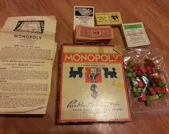 Very Rare Vintage 1937 Monopoly Game By Parker Brothers All Parts- No Board- Wood Houses Hotels- All Properties- Directions- Vintage Game