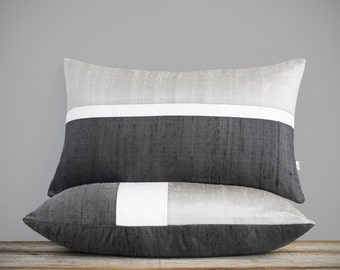 Holiday Decor, Silk Horizon Line Pillow Cover in Silver, Cream and Charcoal (12x20) by JillianReneDecor, Minimal, Monochromatic