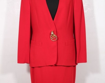 GENNY Italian Authentic VINTAGE Red Wool SUIT Blazer and Pencil Skirt set sz 44 it