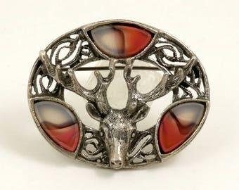 Vintage Signed Miracle Brooch, Stag Head Brooch, Deer Brooch, Scottish Brooch, Hunter Gifts, Celtic Brooch