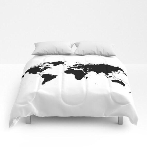 World Map Comforter, Decorative bedding, World Map Bedding, bedroom blanket, White Black Bedding, Modern Bedding, Chalkboard Black Bedding