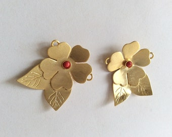 1pc- Matte 22K Gold Plated Base Flower with coral bead pendant- Flower 38x30mm