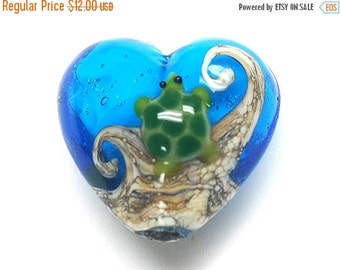 ON SALE 40% OFF Turtle Cove Heart Focal Bead 11834705 - Handmade Glass Lampwork Bead