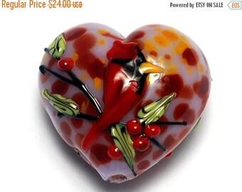 ON SALE 45% OFF Autumn Red Cardinal Heart  (Large) - 11834625 - Handmade Glass Lampwork Beads
