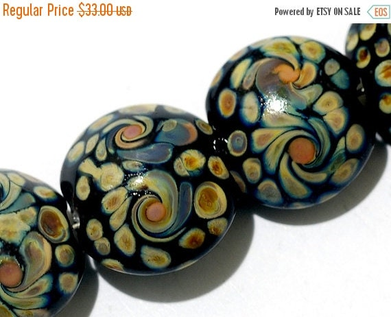 ON SALE 35% OFF Glass Lampwork Bead Set - Four Black w/Twisted Beige Dots Lentil Beads 11200812