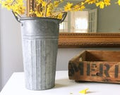 TWO - Farmhouse Style Galvanized Flower Bucket, Indoor Outdoor, Distressed Shabby Rustic Style, 13 Inches High Including Handles