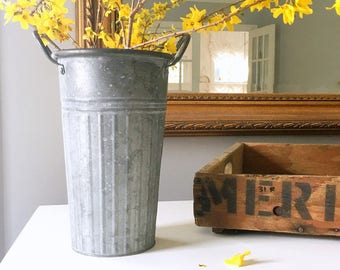 Farmhouse Style Galvanized Flower Bucket, Indoor Outdoor, Distressed Shabby Rustic Style, 14 Inches High with Handles