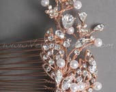 Rose Gold Rhinestone and Pearl Bridal Comb, Rose Gold Leaf Wedding Headpiece - Natasha