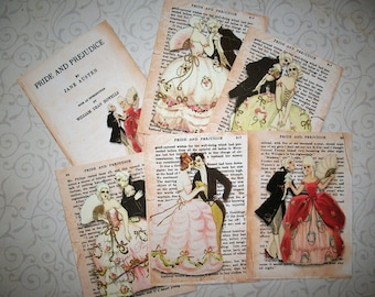 PRIDE and PREJUDICE - Jane Austen - Choice of Gift Tags or Notecards - Victorian, Romantic - Set of 6 - PAP 8976