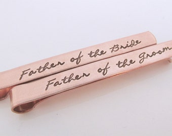 Copper Tie Clip - Father of the Bride Tie Clip - Father of the Groom Tie Clip -  Script Tie Clips - Wedding Party Gifts - Tie Bars