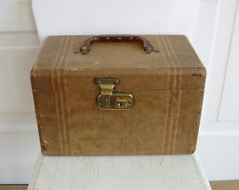 Vintage Train Case, Striped Train Case, Traincase, Vintage Suitcase, Striped Suitcase, Retro Case, Small Case, Brown Train Case