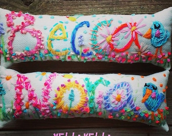 Baby Gift Name Pillow Freehand Embroidered Bohemian Letters Up To FIVE Letters YelliKelli