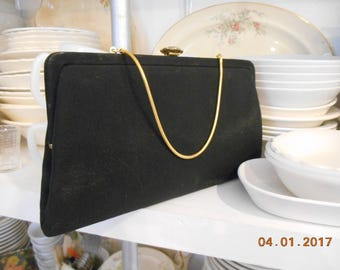Vintage Bobbie Jerome Black Clutch Purse with or without gold metal handle