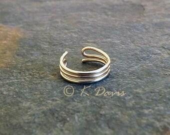 Simple Gold Ear Cuff Triple Band Single Earcuff 14k Gold Filled Non Pierce Minimal Earrings Women Men Unisex