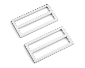 "10pcs - 2"" (50mm) Flat Diecast Slide Buckle - Nickel - (FBK-120) - Free Shipping"
