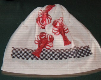 Crochet Kitchen Hanging Towel lobster, blue and white border, Navy blue top