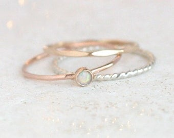 ROSE gemstone ring set. stackable rings. sterling silver, yellow and rose gold fill. birthstone ring. mothers ring. minimalist. gift for her