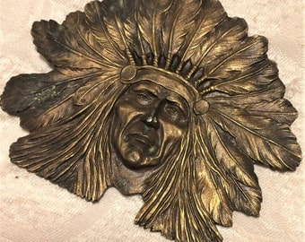 Huge Vintage Brass Belt Buckle of Native American Chief Sitting Bull Made by Bergamot. Over 4 Inches Long Antiqued Brass Color (D7)