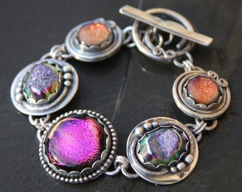 RESERVED for gardenstategirl oOo dichroic glass, titanium druzy, and sterling silver metalwork link bracelet