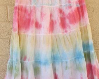 rainbow tie dye skirt medium cotton skirt for waist 30-40 inches