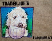 Custom painted for you Trader Joe's Jute tote bag great gift idea