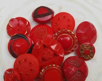 Vintage buttons, 14 assorted  red glass, some Art Deco   (feb 215 17)