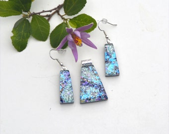 Fused dichroic glass pendant and earring set, three layers, pale gold, blue, green, pink