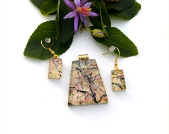 Fused dichroic glass pendant and earring set, three layers, gold, transparent, pastel, black branches