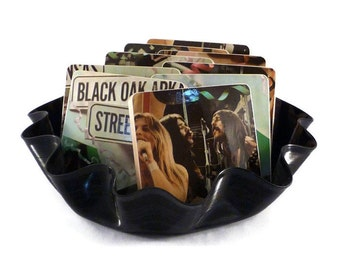 Black Oak Arkansas recycled Street Party album cover coasters and wacky vinyl bowl