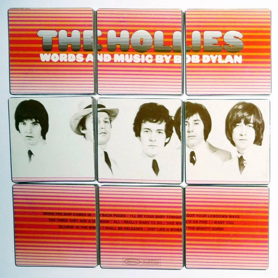 The Hollies recycled 1969 album cover coasters and record bowl
