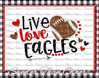 Football SVG Live Love Eagles Football Svg Distressed Football pattern Vinyl Design SVG and DXF Silhouette, Cameo, Cricut, Instant Download