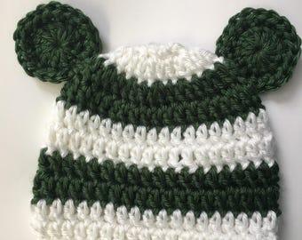 Newborn bear hat... white and green.. photo prop.. ready to ship.. newborn beanie... baby shower gift