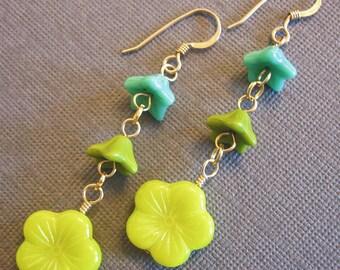 Flower earrings 14K gold filled french hooks gift for her